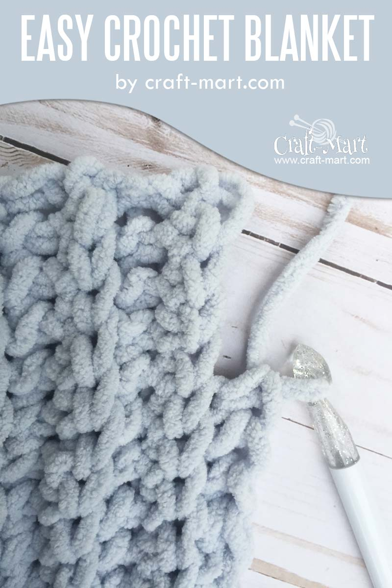 Simple and Easy Crochet Blanket #freecrochetpattern by craft-mart.com (FREE Bernat blanket yarn pattern) easy crochet blanket tutorial for a chunky DIY crochet blanket pattern FREE - crochet it with the fastest crochet stitch for blanket! #easycrochetblanket #freechunkycrochetblanketpattern #fastestcrochetstitchforblanket