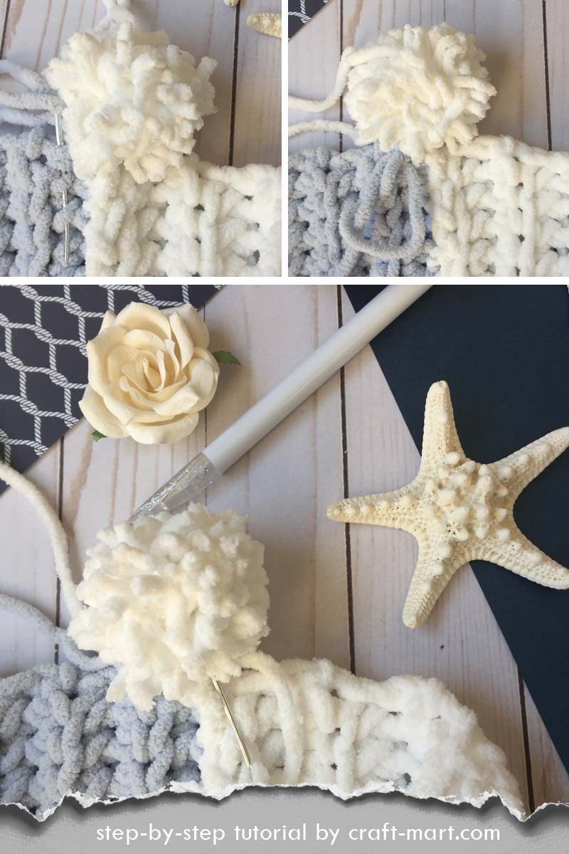 Simple and Easy Crochet Blanket by craft-mart.com - how to weave in the ends and hide them in pom-poms #pompoms #easycrochetblanket #pompomtutorial