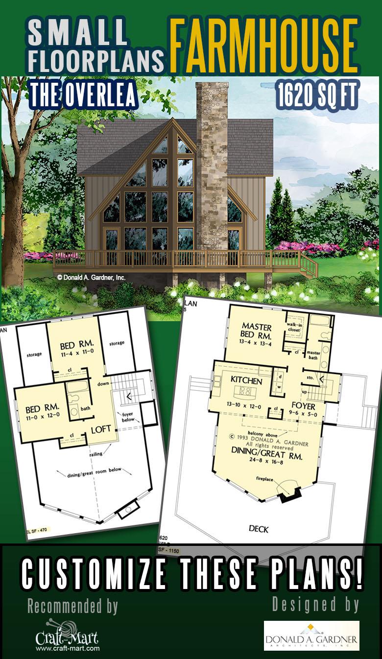 Rustic farmhouse floor plan with a loft