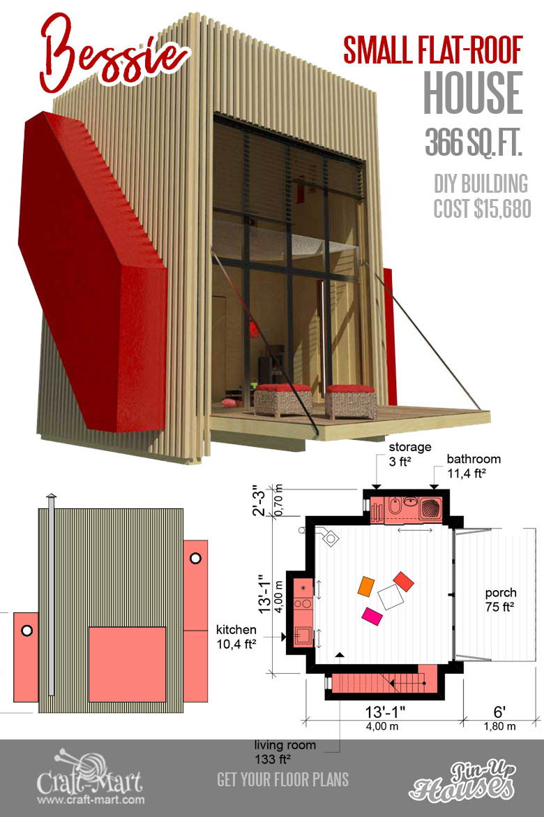 tiny house plans with flat roof