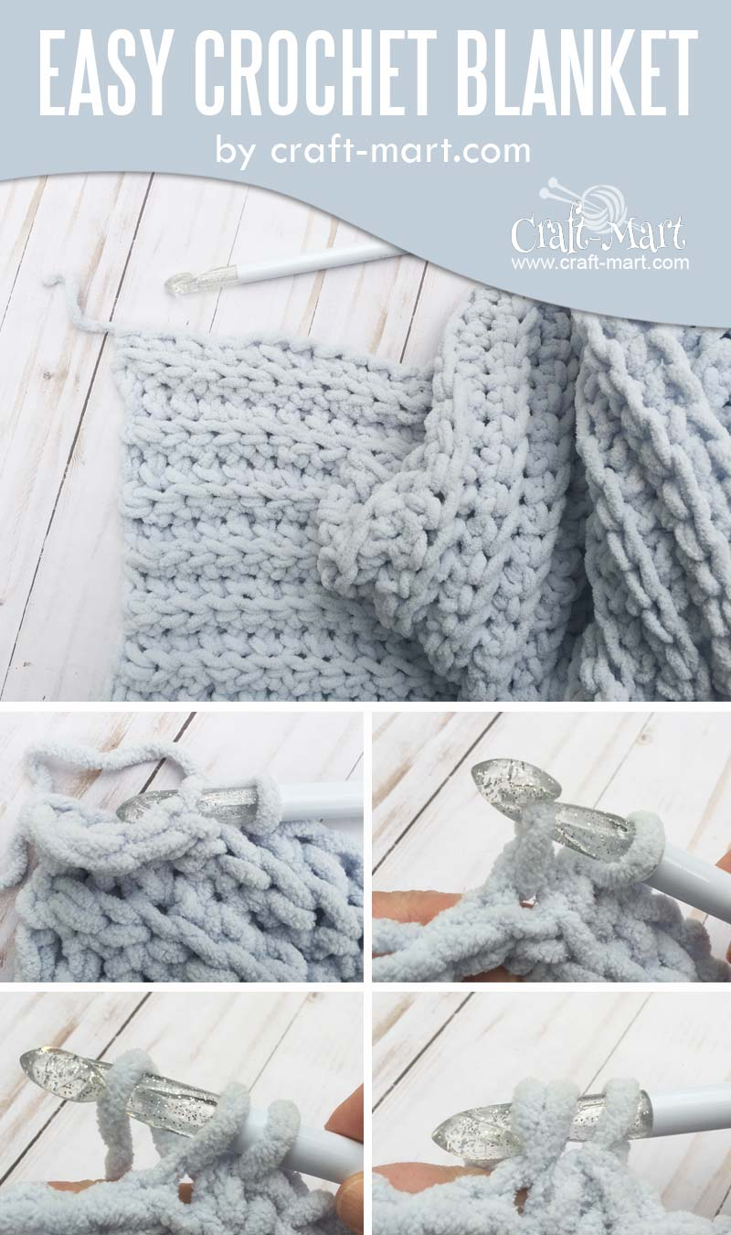 Simple and Easy Crochet Blanket by craft-mart.com (FREE Bernat blanket yarn pattern) with STEP-BY-STEP TUTORIAL for a chunky DIY crochet blanket #singlecrochetstitch #easycrochetblanket #freechunkycrochetblanketpattern #fastestcrochetstitchforblanket #freecrochettutorial