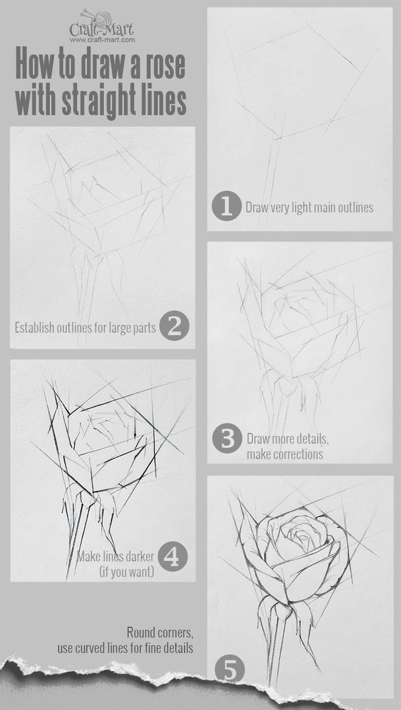 how to draw a rose using straight lines. There are more ways to start drawing a rose than using a circle.