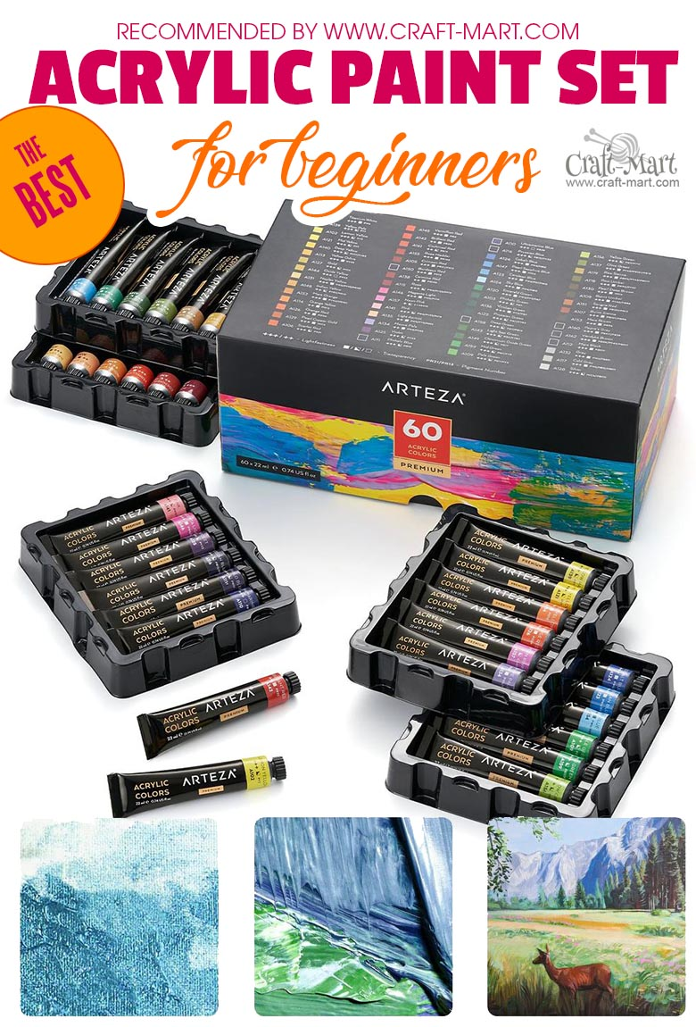 Acrylic Paint Set for easy painting on canvas