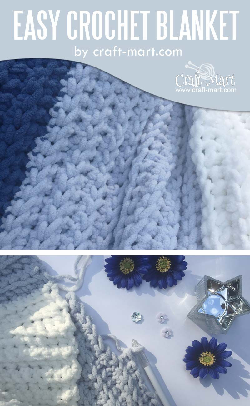 Simple and Easy Crochet Blanket by craft-mart.com - learn to crochet easy crochet blanket with our FREE PATTERN for a chunky DIY crochet blanket pattern with the fastest crochet stitch for blanket! #easycrochetblanket #freechunkycrochetblanketpattern #fastestcrochetstitchforblanket #freecrochettutorial #simplecrochetblanket