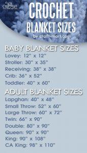 crochet blanket sizes FREE CHART - baby blanket sizes - lovey crochet size, stroller blanket size, receiving baby blanket size, crib blanket size, adult blanket size - lapghan blanket size, small throw size, large throw size, twin blanket size, queen crochet blanket size, king blanket size, California King blanket size #blanketsizing #crochetblanketsizes #freeblanketsizechart #completeblanketsizechart