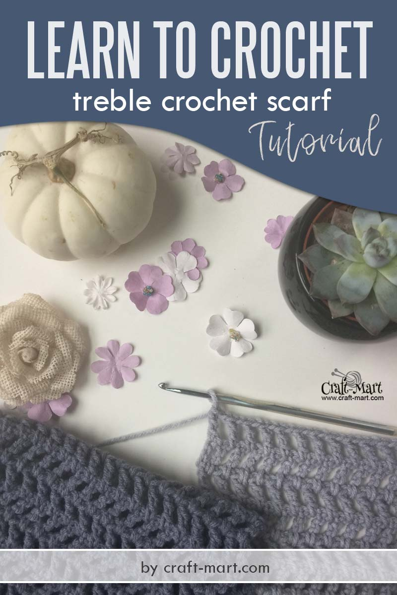 Learn to crochet fast treble crochet scarf - step-by-step treble crochet tutorial and free unique crochet scarf pattern for beginners by craft-mart #fastcrochetscarf #learntocrochet #treblecrochetpattern #triplecrochetpattern #fasttreblecrochetscarf #uniquecrochetscarfpattern #lacycrochetscarfpattern #moderncrochetscarf
