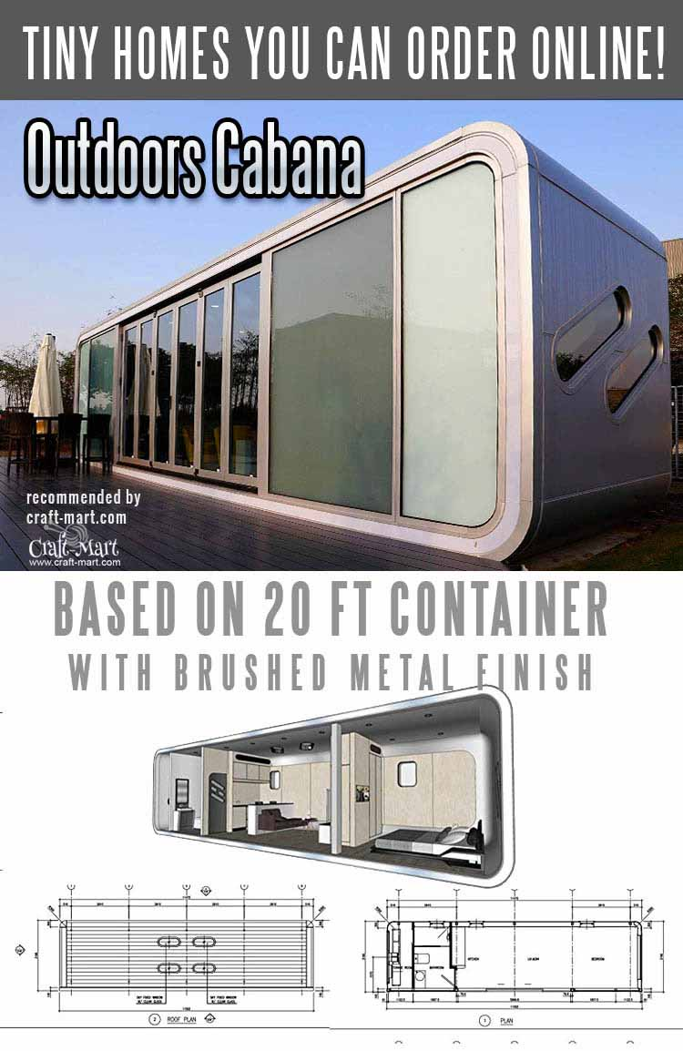container house with brushed metal finish