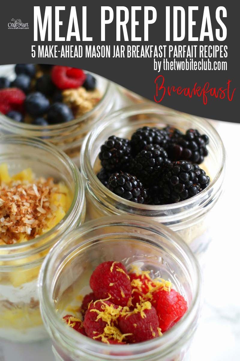 Easy and Healthy Breakfast Meal Prep Ideas that will save you time and money - You can make all the meal prep work ahead using probiotic yogurt, oatmeal, and fruit and enjoy a variety of healthy meals on-the-go. Sign me up - these mason jars parfaits are amazing! #easymealprepideas #healthymealprepideas #mealprep #mealpreprecipes
