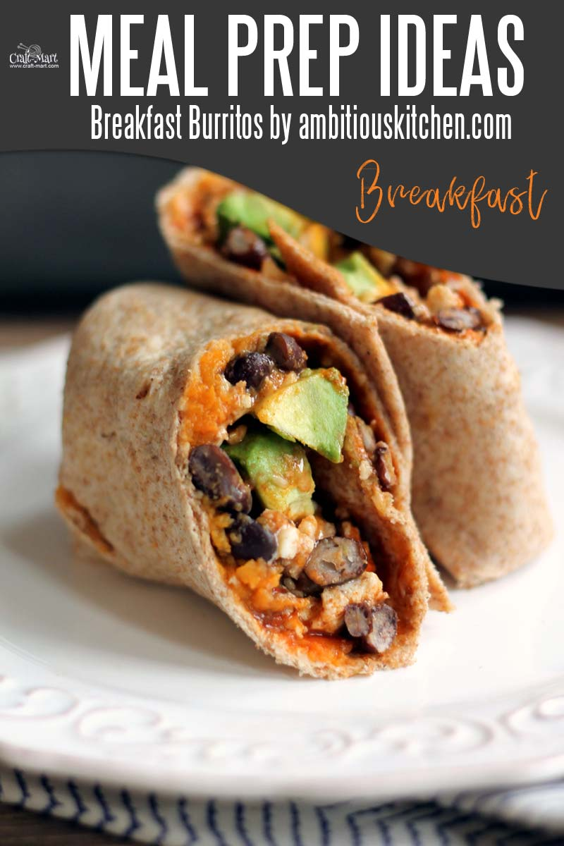 Easy and Healthy Breakfast Meal Prep Ideas that will save you time and money - Breakfast burritos are another staple dish for easy meal prep. With egg whites, black beans, and avocado you'll have a protein-packed breakfast in a breeze.  #easymealprepideas #healthymealprepideas #mealprep #mealpreprecipes