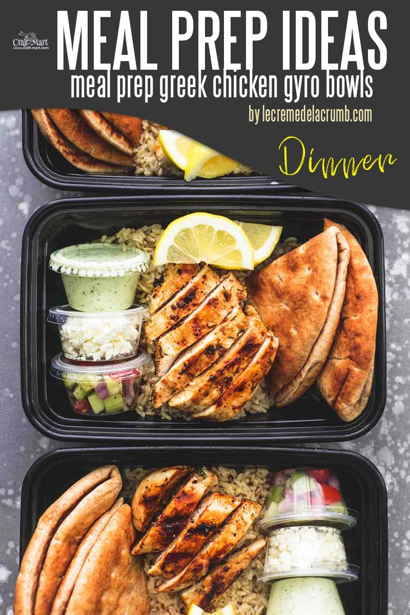 Easy and Healthy Dinner Meal Prep Ideas that will save you time and money - Are you dreaming of a healthy, delicious meal that is ready when you are? Try yummy Greek Chicken Gyro Bowls. It feels like traveling to Greece to enjoy authentic food without leaving your house. #easymealprepideas #healthymealprepideas #mealprep #mealpreprecipes