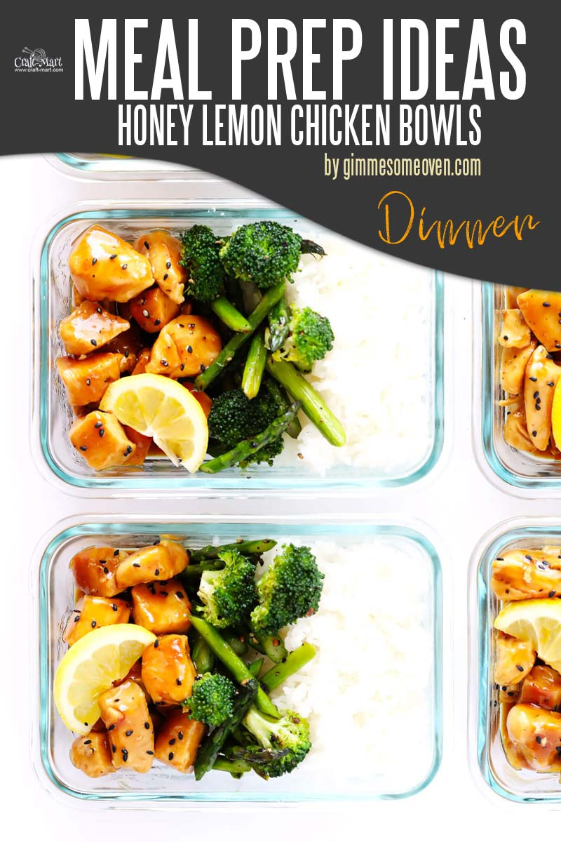 Easy and Healthy Dinner Meal Prep Ideas that will save you time and money - This easy meal prep recipe will surely become one of your favorites. You can use whatever veggies you have in the fridge and serve these flavorful Honey Lemon Chicken Bowls with your favorite side dish. #easymealprepideas #healthymealprepideas #mealprep #mealpreprecipes