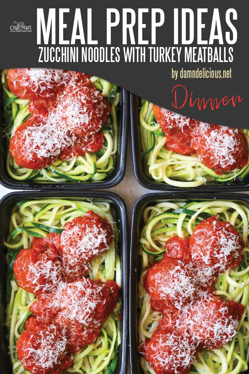 Easy and Healthy Dinner Meal Prep Ideas that will save you time and money - If you love spaghetti and meatballs, you must try these healthy zucchini bowls and forget about pasta altogether. It is light, tasty, and low-carb! #easymealprepideas #healthymealprepideas #mealprep #mealpreprecipes