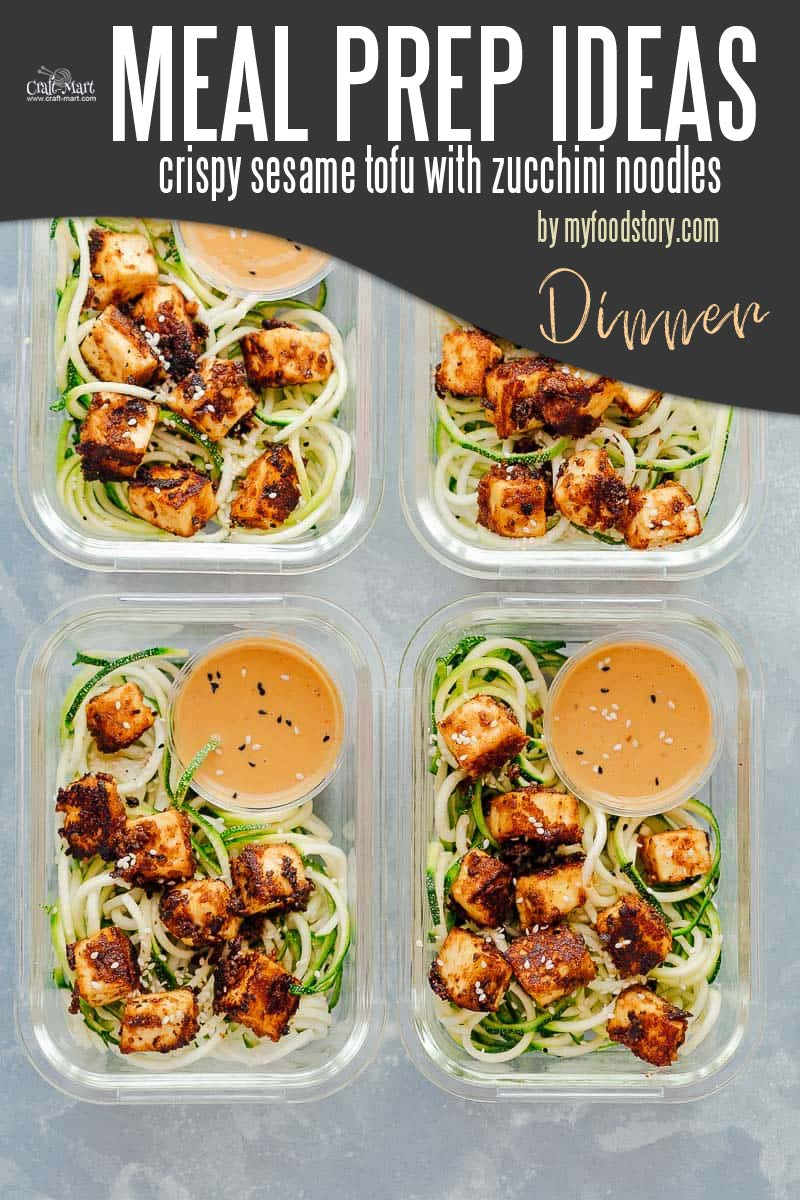 Easy and Healthy Dinner Meal Prep Ideas that will save you time and money - Are you looking for a vegetarian, vegan, low-carb, gluten-free meal prep recipe that is flavorful and delicious? Try these easy crispy sesame tofu with zucchini noodles - done in 30 minutes! #easymealprepideas #healthymealprepideas #mealprep #mealpreprecipes