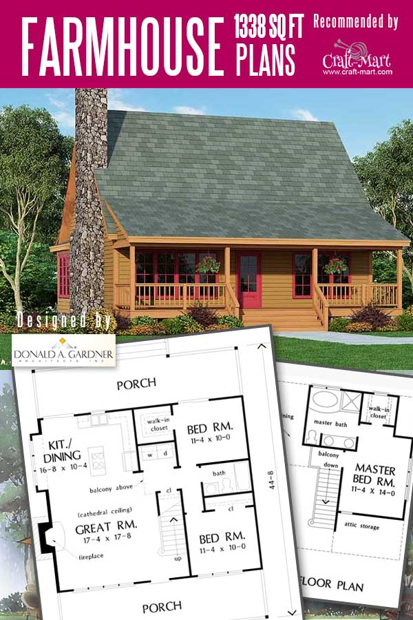 Rustic home plan with a porch