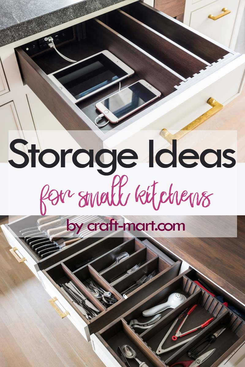 Clever Storage Ideas for Small Kitchens - well-organized drawers with space for every kitchen tool #kitchenstorageideas #kitchenorganizationhacks #kitchendrawers