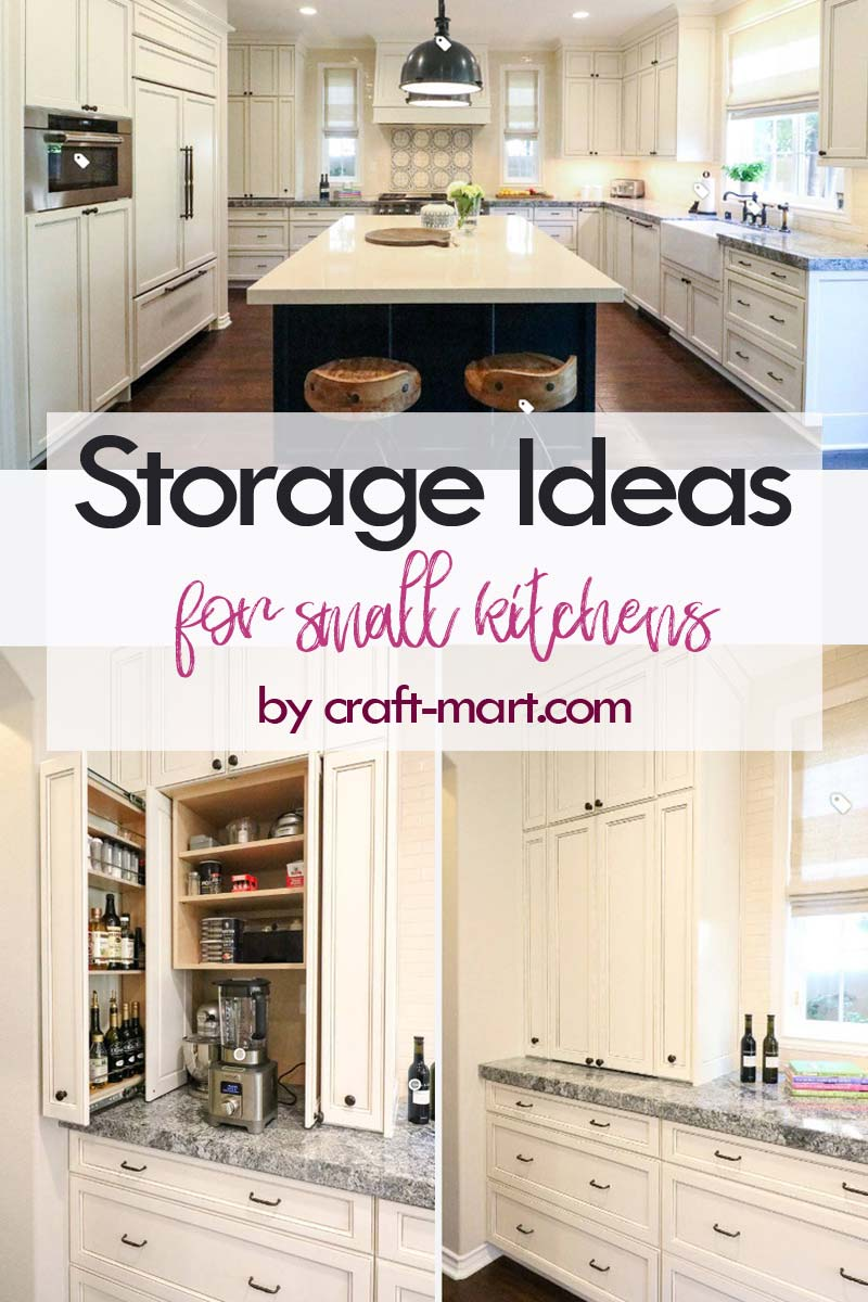 Clever Storage Ideas for Small Kitchens - hidden small apliances storage and pull-out drawers #kitchenstorageideas #kitchenorganizationhacks #kitchencabinets