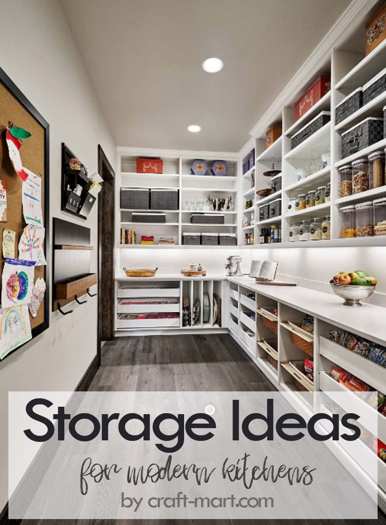 Clever Storage Ideas for Small Kitchens - modern well-organized pantry with pull-out storage and command center #kitchenstorageideas #kitchenorganizationhacks #pantryorganization #commandcenter