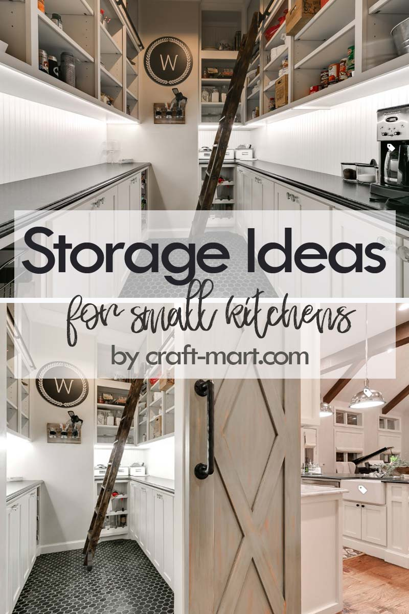 Clever Storage Ideas for Small Kitchens - rustic farmhouse pantry with easy-access ladder #kitchenstorageideas #kitchenorganizationhacks #pantryorganization #smallspaceorganization