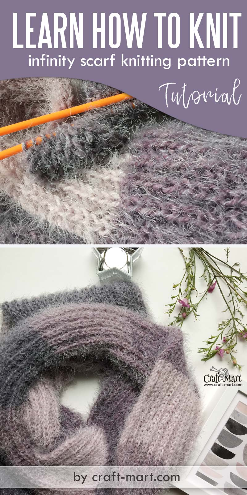 Knit stitch patterns: How to knit an infinity scarf using