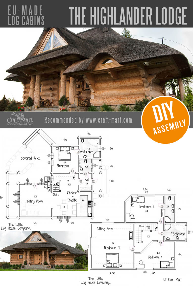 log cabin homes - The Highlander Lodge by The Little Log House Company