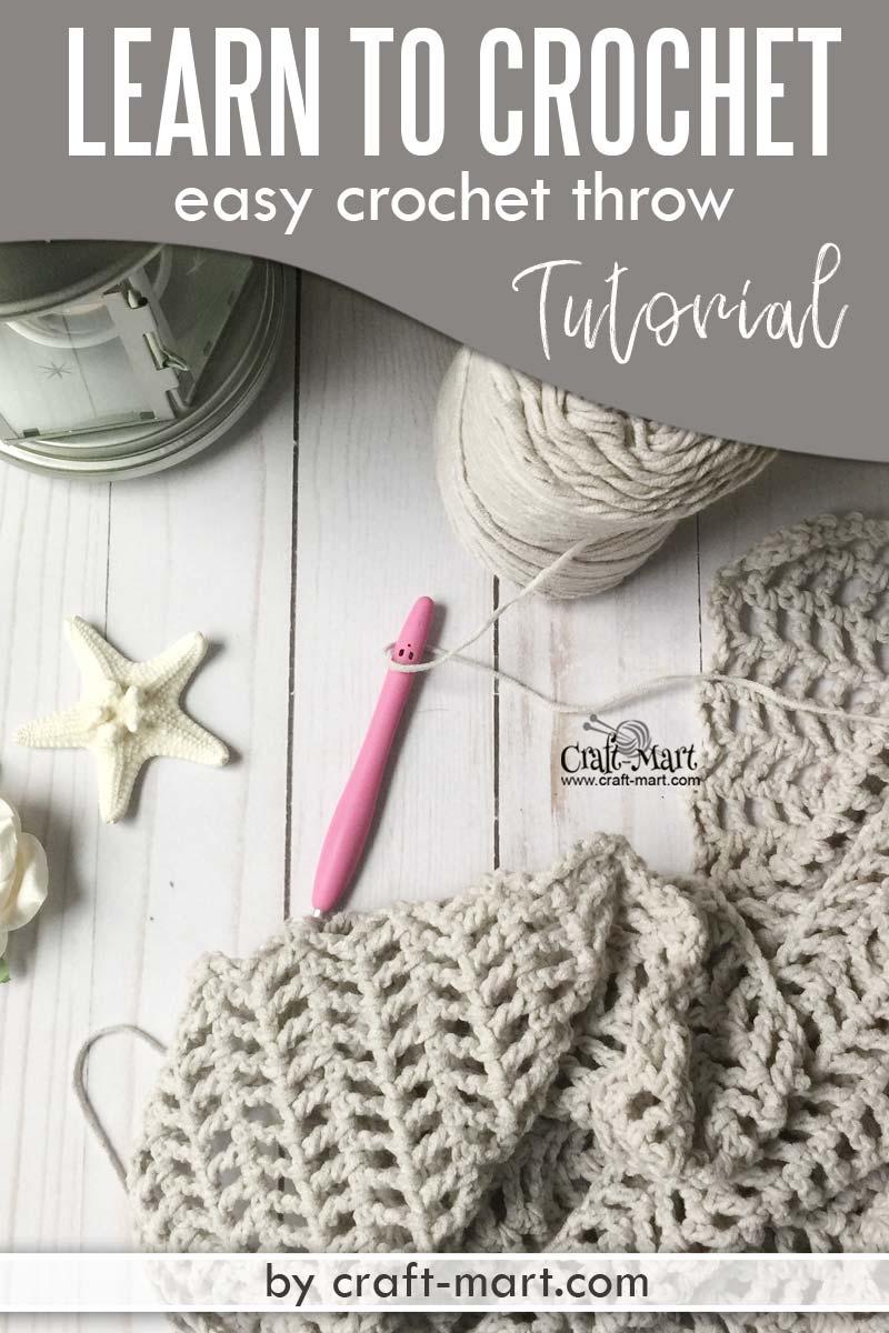 Free Crochet Throw Pattern using popular Caron Cotton Cakes yarn. Crochet blanket tutorial for beginners. #easycrochetblankettutorial