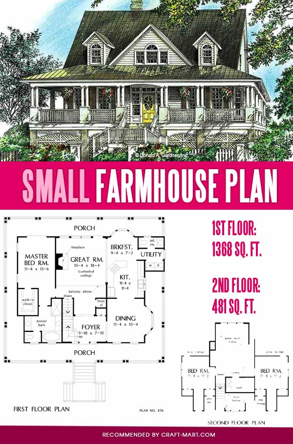 modern plan of a farmhouse with covered porch