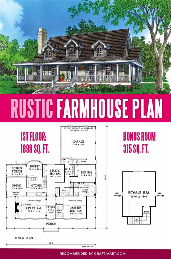 single story rustic farmhouse plan