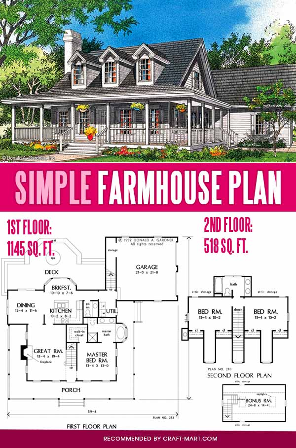simple farmhouse plan for empty nesters
