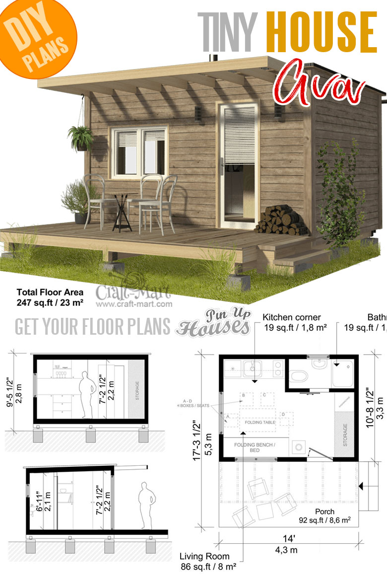 Small and tiny home plans with cost to build - Pod Cabin Plans Ava