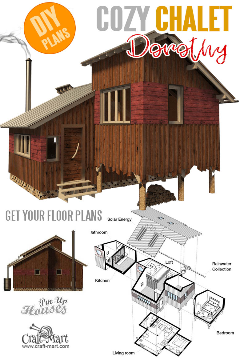Small and tiny home plans with cost to build - Chalet Plans Dorothy