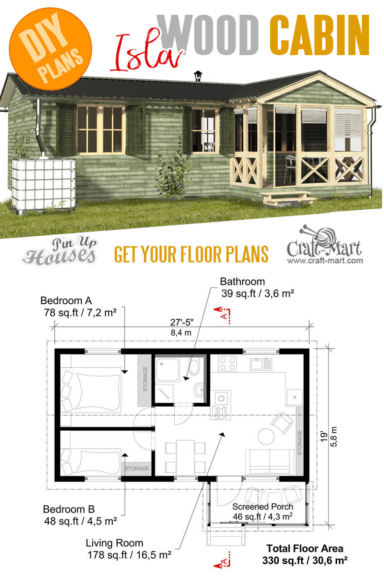 home plans with cost to build - Cabin with Screened Porch Plans Isla