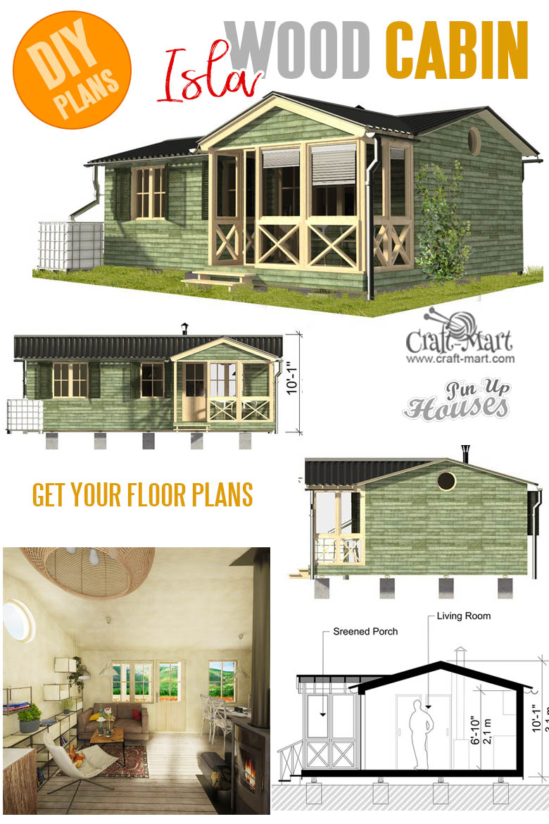 Small and tiny home plans with cost to build - Cabin with Screened Porch Plans Isla