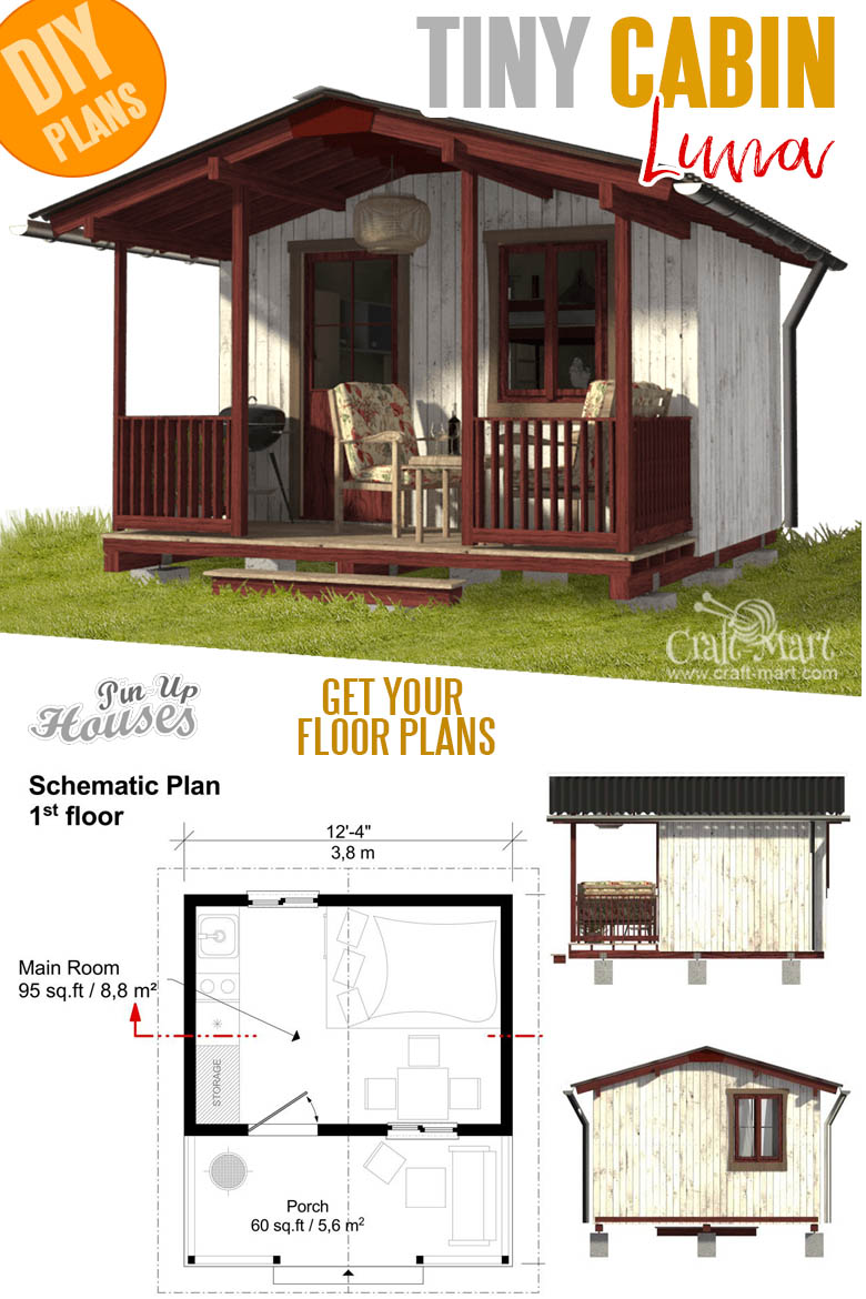one room cabin plans with cost to build - Campground Cabin Luna