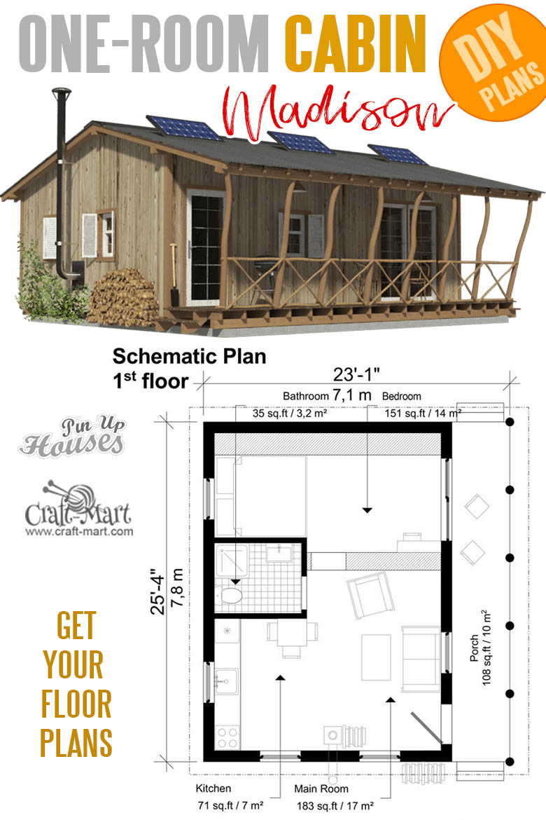 house plans with cost to build estimates - One Room Cabin Plans Madison