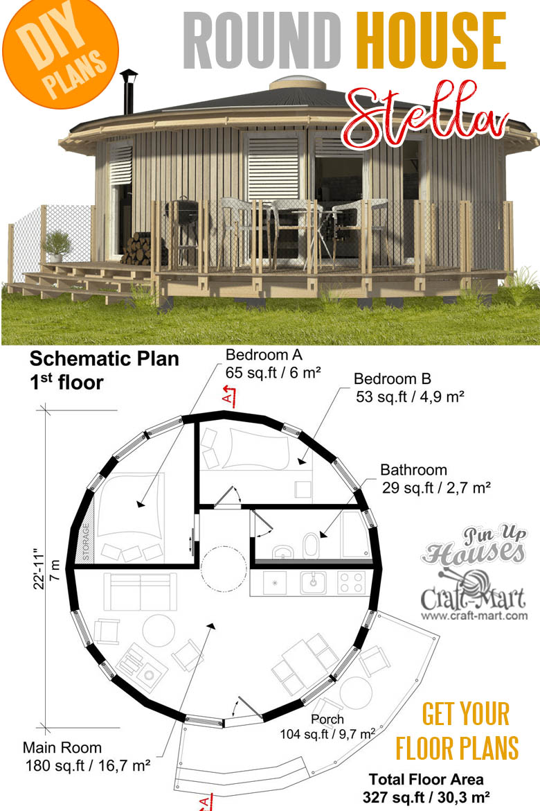 Small and tiny home plans with cost to build - Round yurt tiny house plans