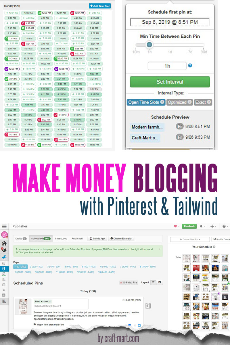 creative ways to make money blogging with Pinterest and Tailwind by craft-mart.com - Do you need to learn how to make extra money fast? Learn how to make money blogging for beginners and how to create passive income blogging and make money online from home; great retirement income ideas, online jobs for stay at home moms, work from home jobs for college students #creativewaystomakemoney #waystomakemoneyonlinefromhome #makemoneyblogging