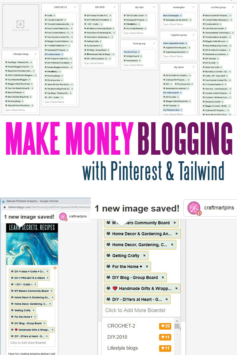 creative ways to make money blogging with Pinterest and Tailwind by craft-mart.com - Do you need to learn how to make extra money fast? Learn how to bring traffic and monetize your blog using Pinterest and Tailwind batch scheduling; great retirement income ideas, online jobs for stay at home moms, work from home jobs for college students #creativewaystomakemoney #waystomakemoneyonlinefromhome #makemoneyblogging