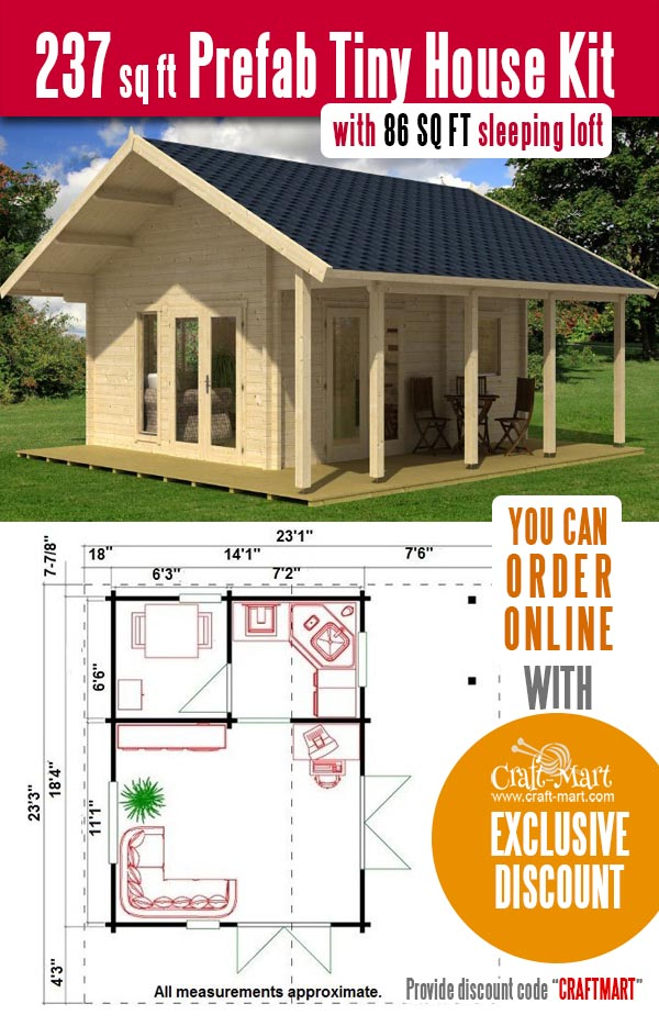 prefab tiny house kit with a loft