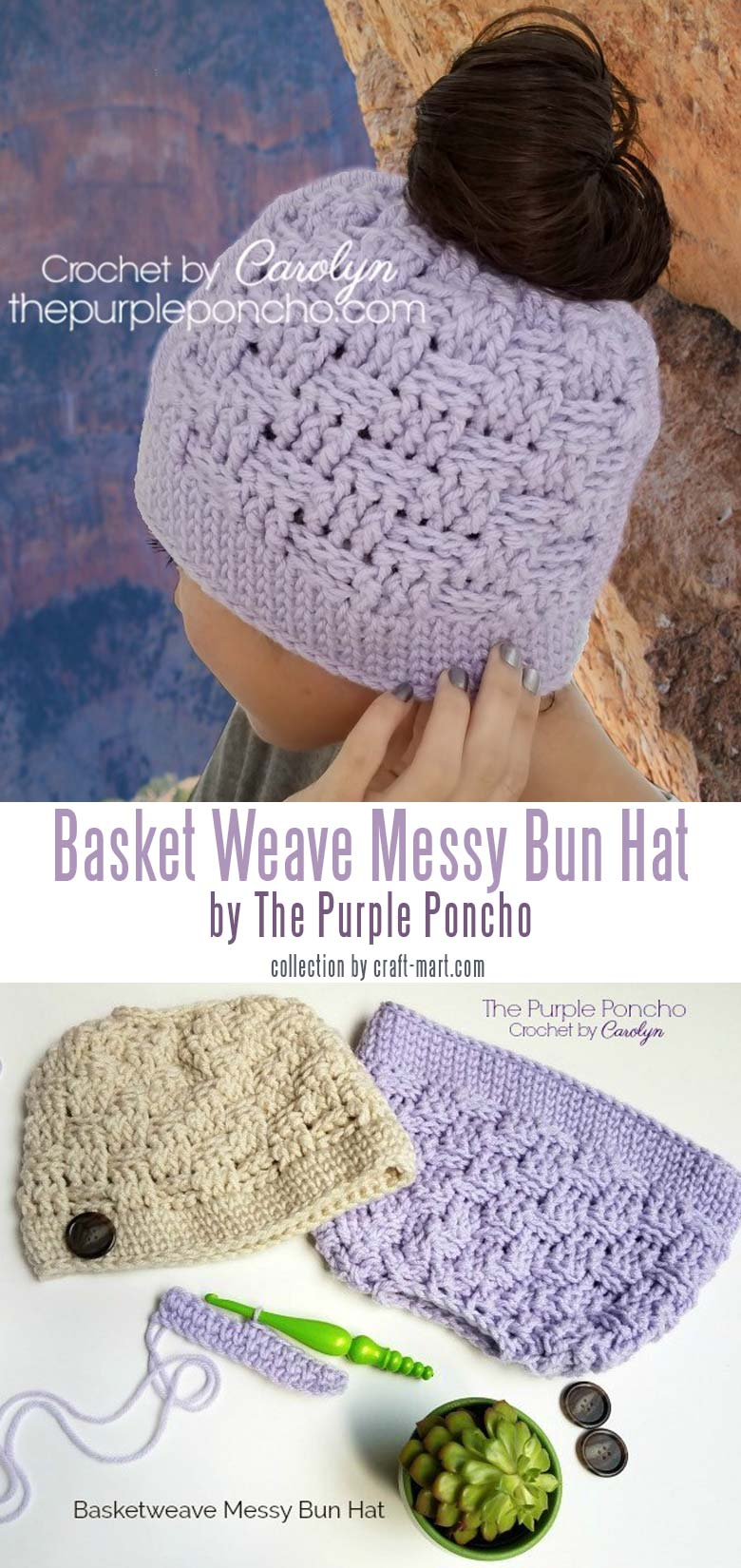 crochet hat patterns for beginners - Basketweave Messy Bun Hat – Free Crochet Pattern by The Purple Poncho