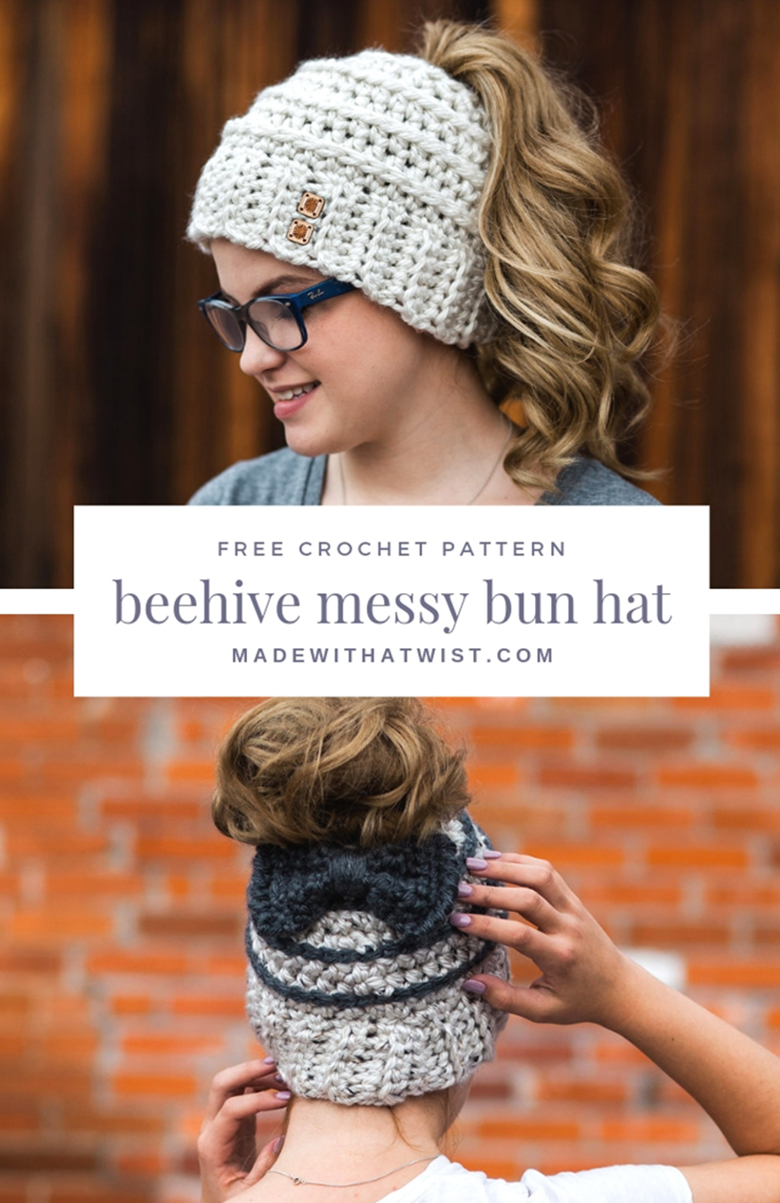 Learn to crochet a messy bun hat with 12 free patterns and tutorials - Beehive Messy Bun Hat by Made With A Twist #messybunhat #messybunbeanie #messybunhatpattern #freepatternmessybunhat #messybunbeaniecrochet