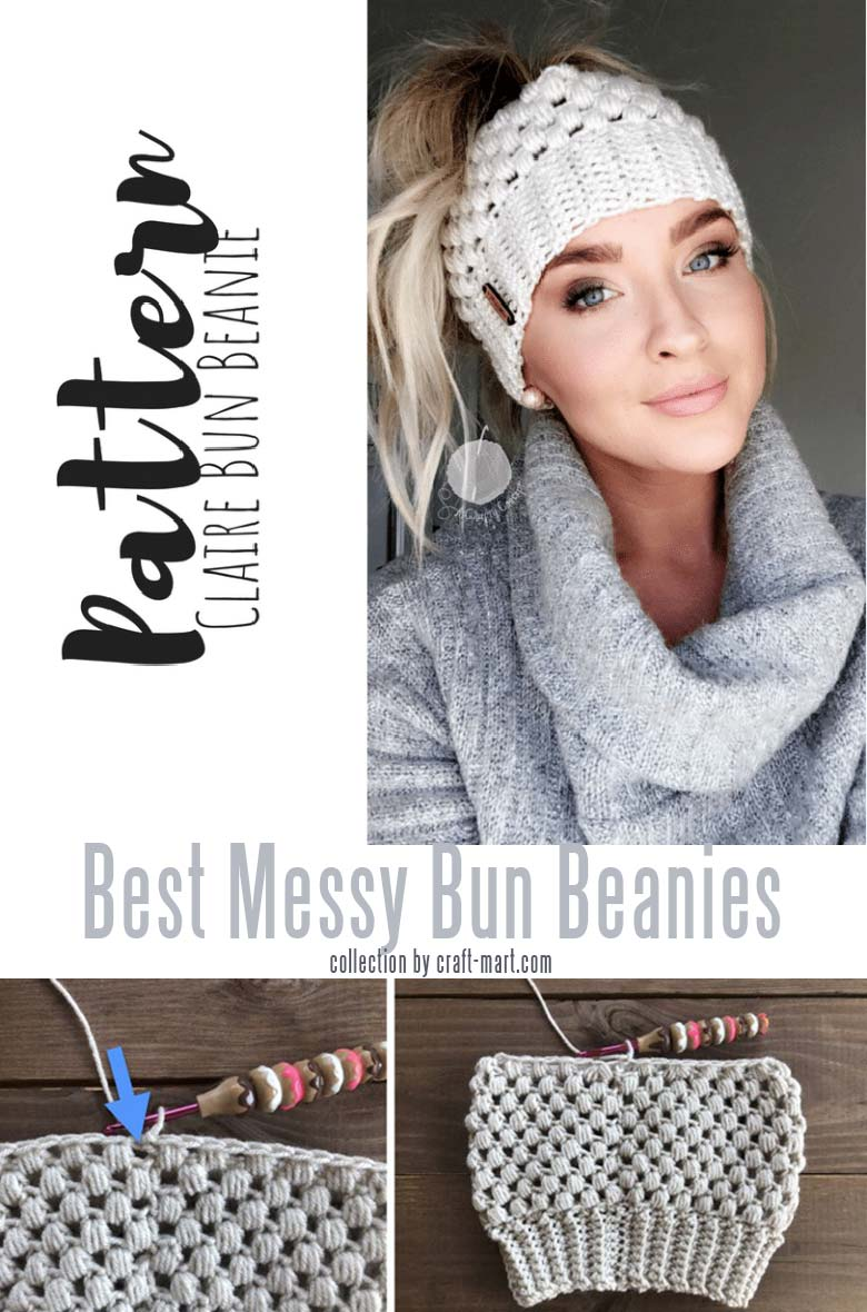 crochet messy bun hat tutorials