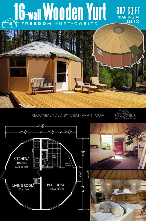 wooden yurt tiny house with 16 walls