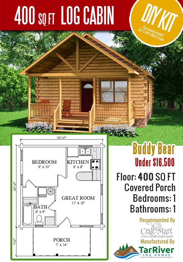 Buddy Bear tiny house log cabin kit