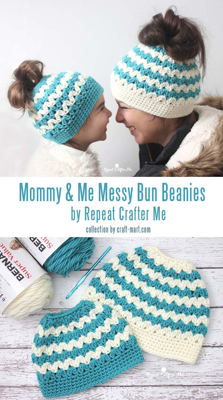 Learn to crochet a messy bun hat with 12 free patterns and tutorials - crochet mommy and me messy bun hats by Repeat Crafter Me #messybunhat #messybunbeanie #messybunhatpattern #freepatternmessybunhat