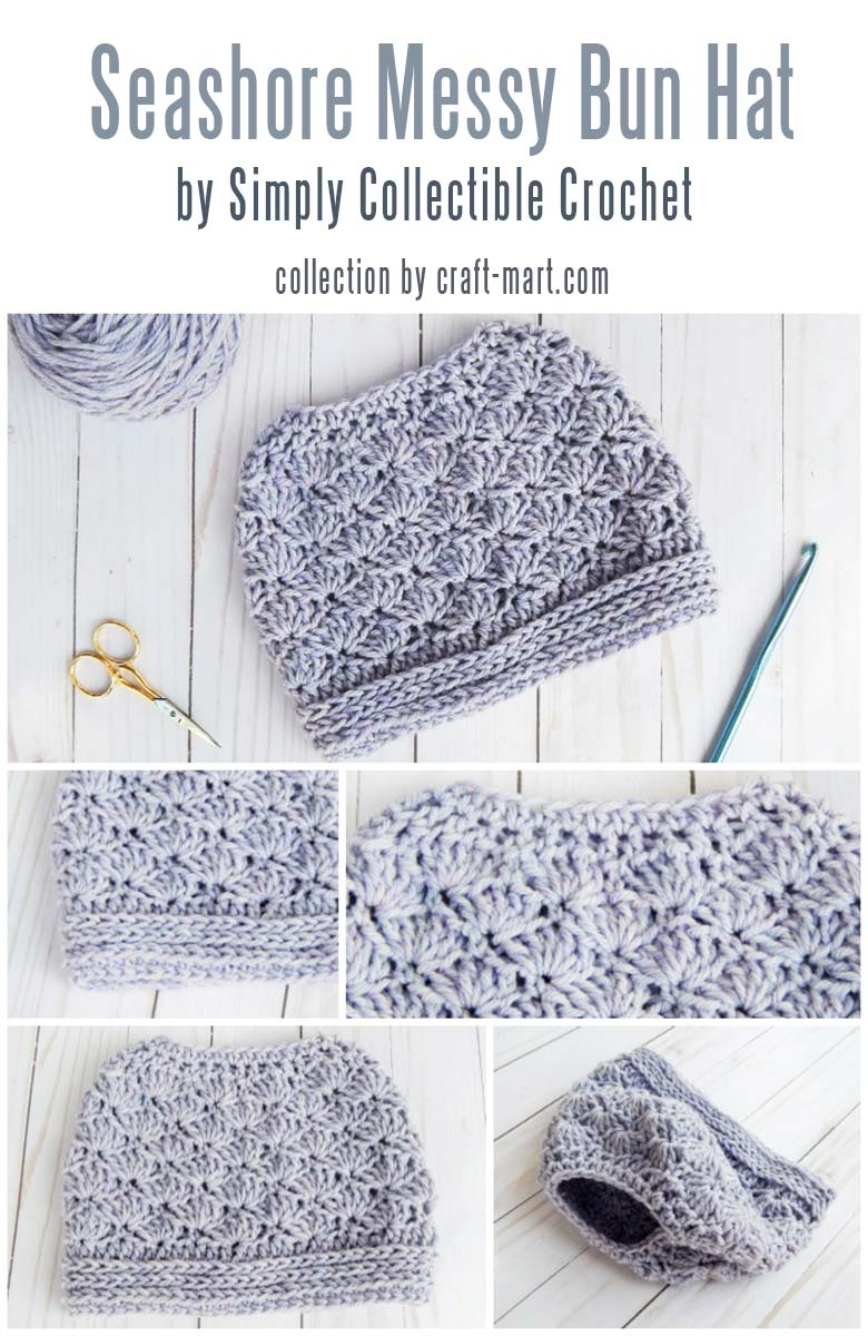 Learn to crochet a messy bun hat with 12 free patterns and tutorials - Seashore Messy Bun Hat by Simply Collectible Crochet #messybunhat #messybunbeanie #messybunhatpattern #freepatternmessybunhat