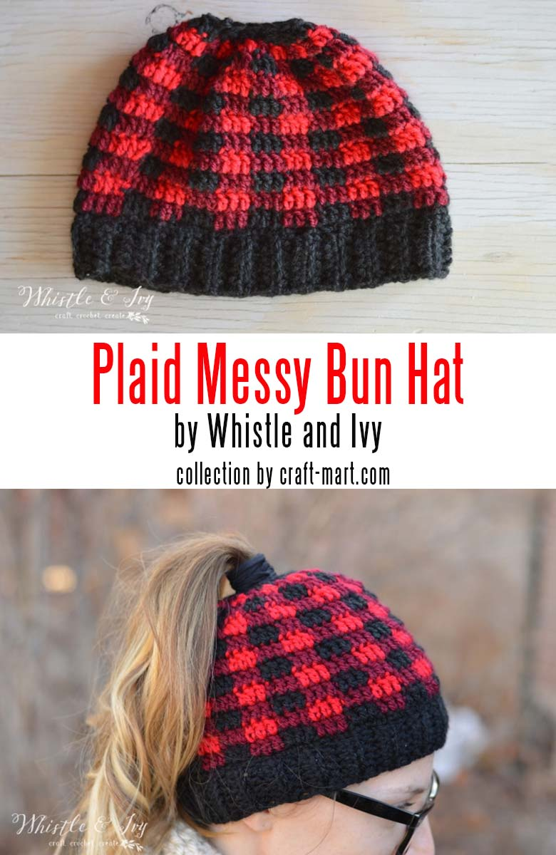 Learn to crochet a messy bun hat with 12 free patterns and tutorials - Plaid Messy Bun Beanie by Whistle and Ivy #messybunhat #messybunbeanie #messybunhatpattern #freepatternmessybunhat