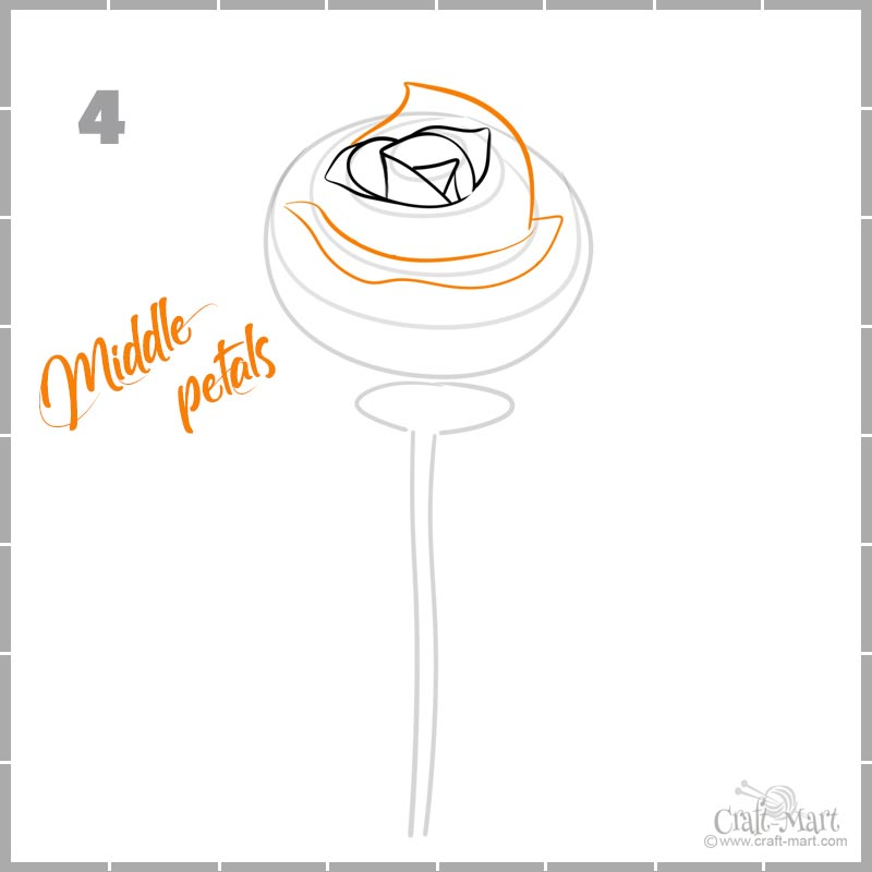 drawing a rose petals - the middle layer