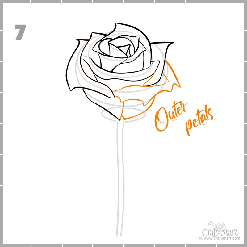 how to draw a rose bud petals