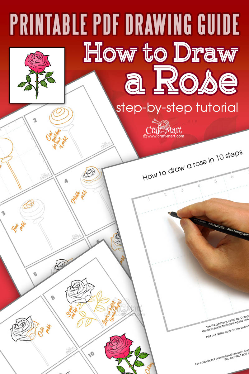 printable guide for drawing a rose flower
