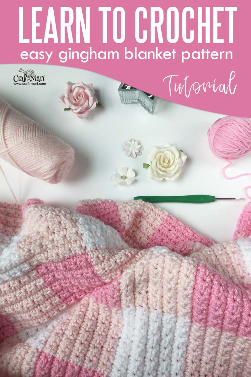 Learn to crochet baby blanket pattern in pink gingham